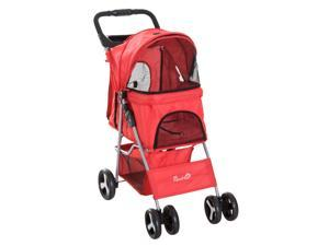 Cat Dog Carrier Cart Foldable with Storage Cup Holder