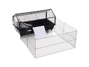 Metal Rabbit Cage Small Animal Shed with Main House Foldable Large Run W/ wheels