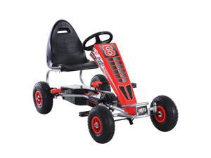 Aosom Pedal Go Kart Children Ride on Car  Racing Style with Adjustable Seat, Rubber Wheels, Handbrake, Clutch