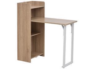 HOMCOM 2 In 1 Storage Cabinet & Dining Table 4-Tier Shelf w/ Drop Leaf Tabletop, Anti-toppling Design