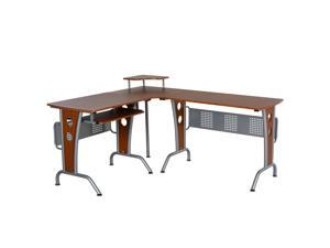 HOMCOM L-Shaped Corner Computer Office Desk  PC Table Workstation E1 MDF with  Keyboard Tray, CPU Stand, Brown Wood Grain