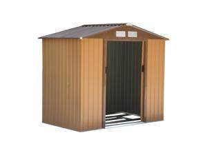 Outsunny 9x6ft Metal Outdoor Utility Storage Tool Shed Kit  Backyard Garden  - Brown
