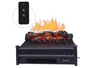 HOMCOM 4, 800 BTU 1400W Electric Log Set Heater with Realistic Ember Bed with Remote Controller, Black