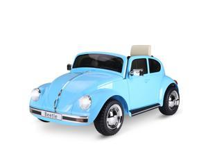 Aosom Licensed Volkswagen Beetle Electric Kids Ride-On Car 6V Battery Powered Toy with Remote Control Music Horn Lights MP3 for 3-6 Years Old Blue