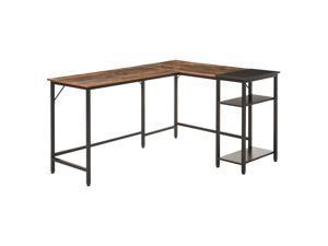 HOMCOM L-Shaped Computer Desk Industrial Cornor Writing Desk with Adjustable Storage Shelf, Space-Saving, Wood Grain Surface Home Office Workstation