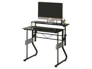 HOMCOM Computer Table Writing Desk Height Adjustable Monitor Stand with Foot Pads Home Office Workstation, Black