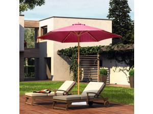 f9' x 8'H Wooden Round Market Po Sun Umbrella Garden Parasol Outdoor Sunshade