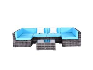 Outsunny 7pc Garden Wicker Sectional Set w/Tea Table Patio Rattan Lounge Sofa with Cushion Outdoor Deck Furniture All Weather Blue