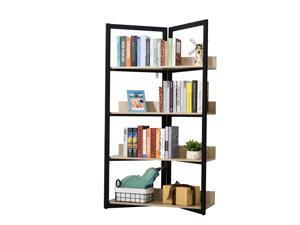 HOMCOM 4-Tier Freestanding Bookcase Bookshelf, Mental Frame Wooden Storage Organizer Shelf Bedroom Decor wirh Anti-toppling Device Design for Home Office, Oak & Black