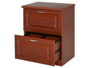 HOMCOM 2-Drawer Lateral File Cabinet Pedestal Documents Storage for Home Office, Coffee Brown