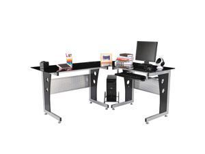 """HomCom 64"""" Modern L-Shaped Glasstop Office Workstation Computer Desk - Black"""