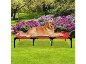 """PawHut D04-069RD 48"""" X 36"""" X 9"""" Elevated Pet Bed Foldable Raised Dog Cot with Carrying Bag, Red/Black"""