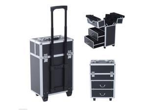 Soozier Professional Rolling Makeup Case Salon Beauty Cosmetic Jewelry Organizer Trolley with 2 Wheels (Black)