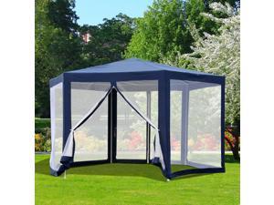 F13' Hexagon Gazebo Garden Sunshade Pavilion Outdoor Events w/ Mosquito Netting