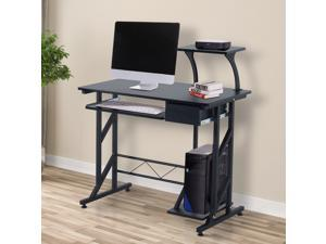 """HOMCOM Computer Desk Writing Workstation Portable Space Saving Home Office Wood with Keyboard Tray, Black ( 35.4""""Lx19.7""""Wx37.4""""H )"""