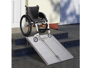 HOMCOM 4ft Wheelchair Ramp Foldable Portable Scooter Mobility Easy Access Carrier Ramp with Carrying Handle Aluminum Alloy