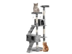 Multi-Level Cat Tree Cat Scratching Tower Condo Furniture w/ Toy Grey