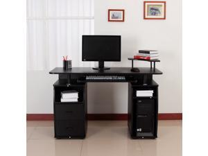 HOMCOM Computer Desk Writing Table Drawer PC Cabinet Home Office Furniture Black