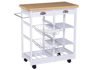 Rolling Kitchen Island Trolley Multi-function Cabinet Rack w/ Basket Shelves