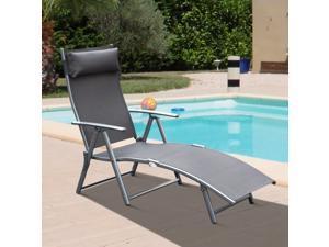 Reclining Chair Lounger Chaise Adjustable Tri-Fold Beach w/ Pillow
