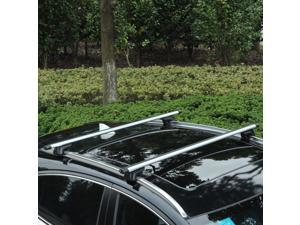 """Outsunny Roof Top 2 PC Aluminum Cross Bars Lockable Adjustable Baggage Luggage Roof Rack, Silver (53"""")"""
