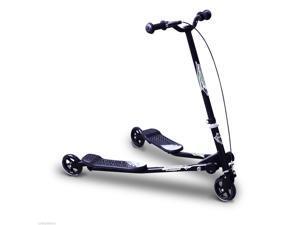 HOMCOM Tri Scooter Children 3 Wheels Foldable Speeder Slider Winged Push Motion Black