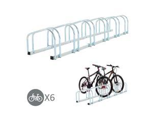HOMCOM Bike Stand Parking Rack Floor or Wall Mount Bicycle Cycle Storage Locking Stand (6 Racks, Silver)
