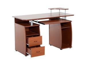 HOMCOM Wooden Computer Desk Study Table PC Desktop with Print Shelf Home Office Furniture