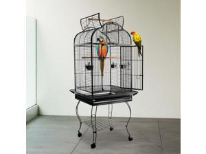 PawHut 63-inch Large Bird Parrot Cage Rolling Cockatiel Finch Macaw Aviary Cage Open Play Top with 2 Perch 3 Stainless Steel Cup Pet Furniture