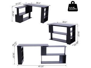 360° Rotng Corner Desk PC Laptop Workston Storage Shelf