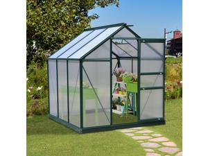 Outsunny 6'x6'x7' Walk-in Garden Greenhouse Polycarbonate Panels Plants Flower Growth Shed Outdoor Warm House Portable Aluminum Frame
