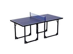 Soozier 6x3ft Compact Midsize Table Tennis Table Multi-Use Family Ping-pong Table Free Standing Folding Blue