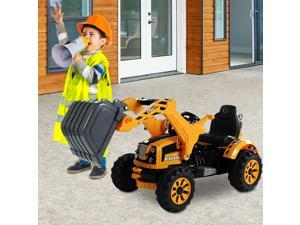 Aosom 6V Kids Electric Ride on Toy Excavator Construction Trunk