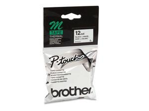Brother Non-Laminated Label Tape Black on White 12mm