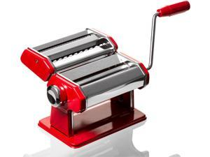 Stainless Steel Red Pasta Maker Spaghetti - Roller & Pasta Machine Noodle Maker