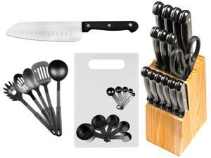 29 Pc Chef's Kitchen Knife Set w/ Block - Stainless Steel Cutlery Sets - Cooking Knives & Kitchen Utensils