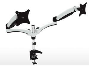 "Dual Articulating Monitor Mount. Clamp Base. Supports 15 to 28"" monitors. VESA Mounting"