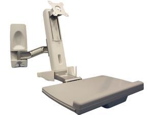 Amer Mounts AMR1WS: Full Solution Sit-Stand Computer Workstation Wall Mount for Flat Panel Monitor Displays, and Keyboard/Mouse