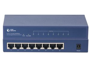 Amer Networks | 8-Port 10/100/1000 Unmanaged Ethernet Switch with all 8 ports PoE+ 802.3at