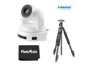 Lumens 20x Optical Zoom, 1080p Hi-Definition PTZ IP Camera, White+ Slik Sprint aluminum Tripod with SBH-150DQ Ball Head