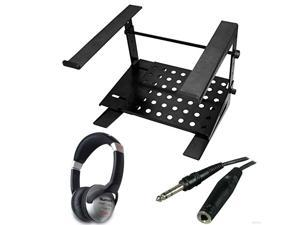 Ultimate Support JSLPT200 Multi-Purpose Laptop/DJ Stand with Stand Alone Base + On-Ear DJ Headphones + Headphone Extension Cable