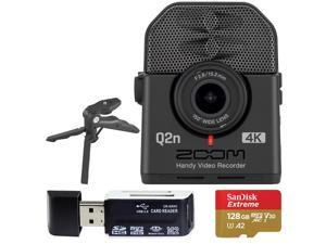 Zoom Q2n-4K Ultra High Definition Handy Video Recorder + SanDisk 128GB Memory Card with SD Adapter + USB Card Reader + Table Tripod Hand Grip