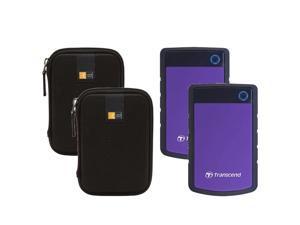 2 Transcend 4TB StoreJet 25H3 External Hard Drives (Purple) + 2 Cases