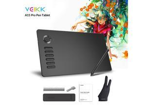 VEIKK A15 Pro Graphics Drawing Tablet 10 x 6 inch Digital Drawing Tablet with 12 Hotkeys and a Quick Dial (8192 Level Pressure Battery -Free Stylus)