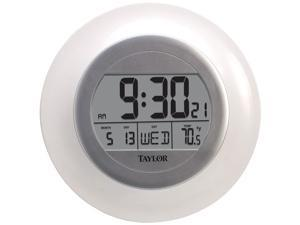 Taylor Precision Products 1750 Atomic Wall Clock with Thermometer