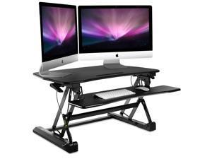 """Mount-It! Sit-Stand Standing Desk Converter   35"""" Wide Desktop   Height Adjustable"""