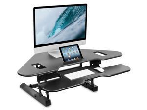 """Mount-It! Corner Standing Desk Converter   Height Adjustable 48"""" Wide Desktop   Corner Stand Up Desk with Gas Spring Handle    Black"""