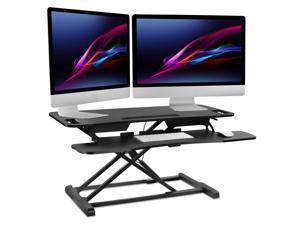 "Mount-It! Standing Desk Converter   Height Adjustable 37"" Wide Desktop   Stand Up Computer Workstation Fits Dual Monitors   Black"