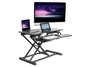 """Mount-It! Adjustable Standing Desk Converter with Keyboard Tray   31.5"""" Wide for Desktop and Laptop Computers"""