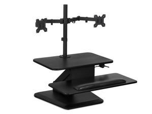 Mount-It! Sit Stand Standing Desk Converter with Dual Monitor Mount Combo Black